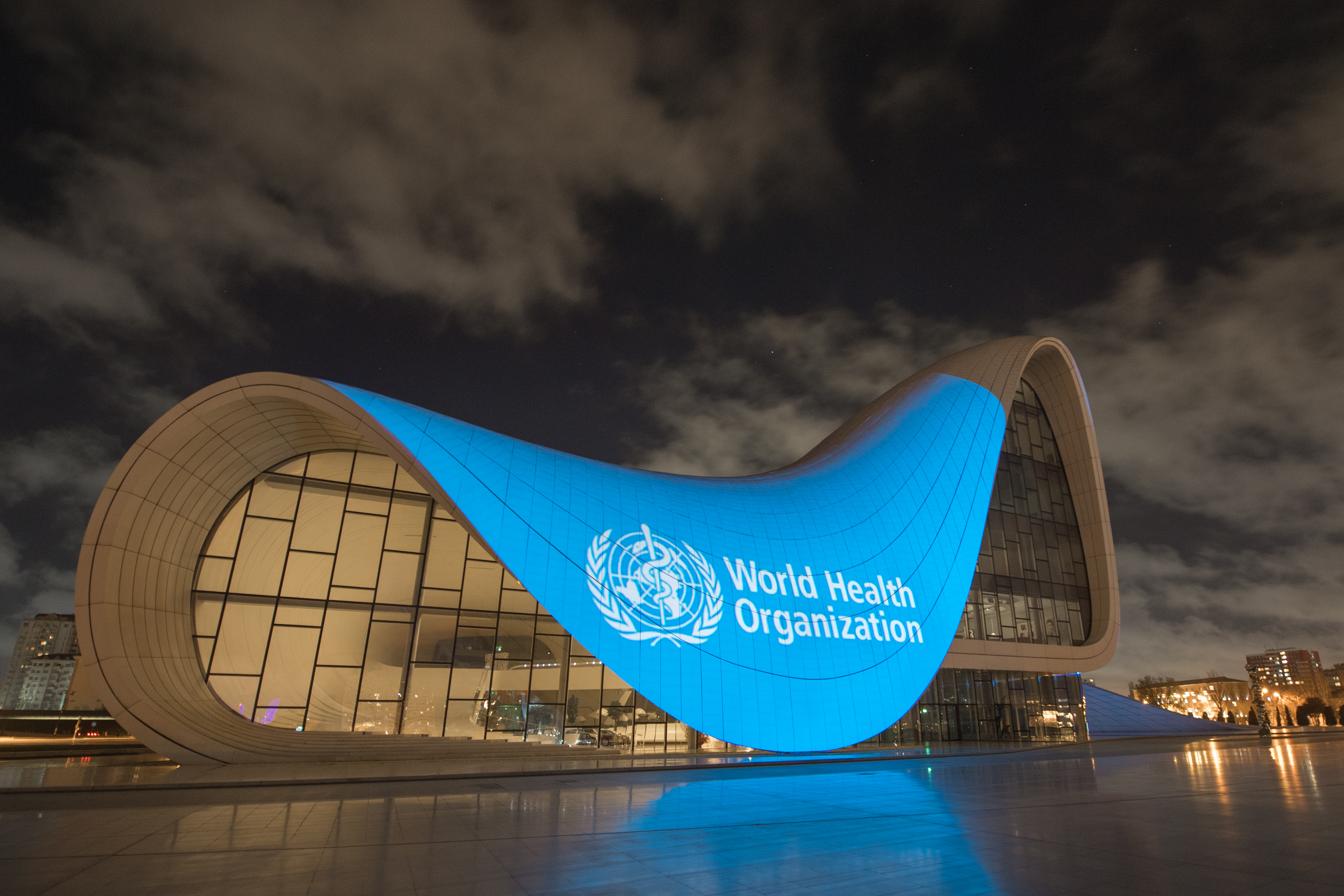 Azerbaijan projects WHO flag on iconic building as sign of solidarity and support