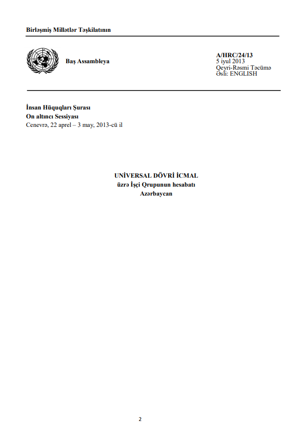 Azerbaijan working group UPR report for 2013