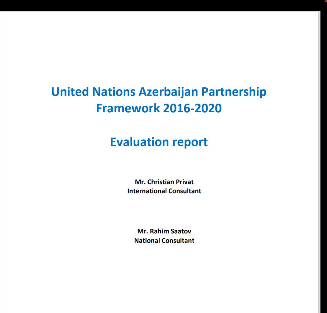 United Nations Azerbaijan Partnership  Framework 2016-2020  Evaluation report