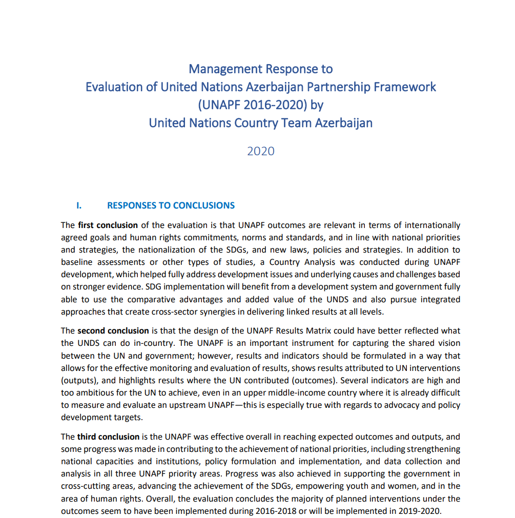 Management Response to Evaluation of United Nations Azerbaijan Partnership Framework (UNAPF 2016-2020) by United Nations Country Team Azerbaijan