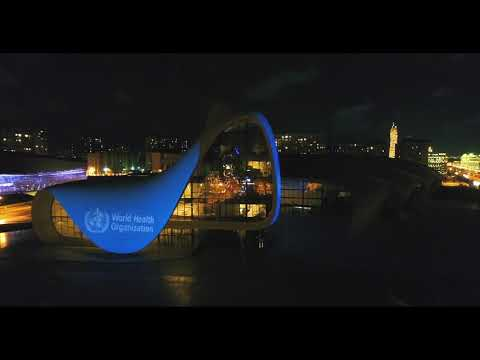 WHO flag projected on the iconic building of Azerbaijan